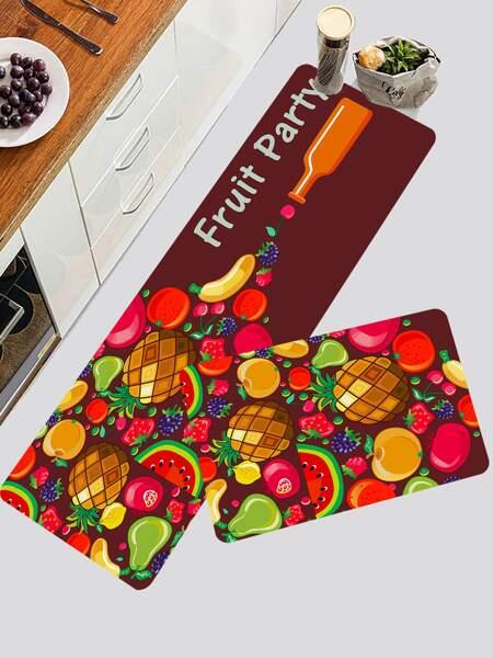1pc Fruit Print Kitchen Rug