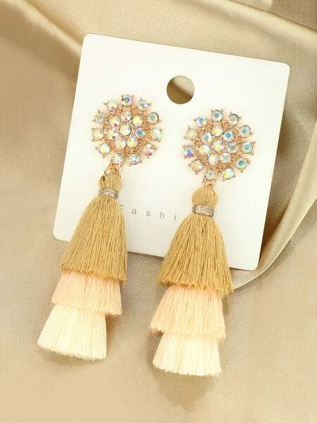 Rhinestone Decor Tassel Drop Earrings