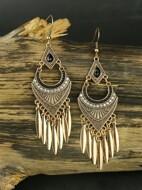 Rhinestone Decor Bohemian Tassel Drop Earrings
