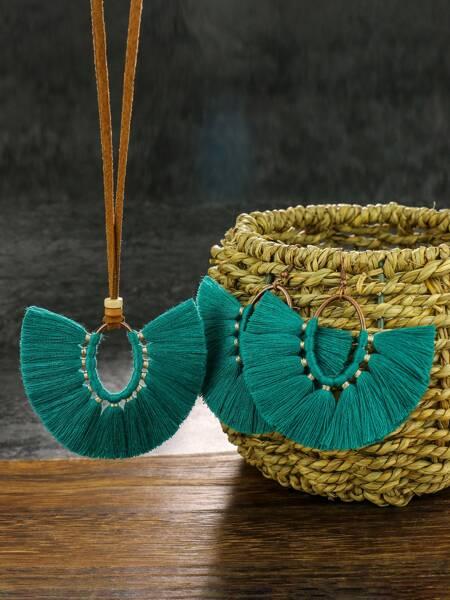 Tassel Charm Necklace & Earrings