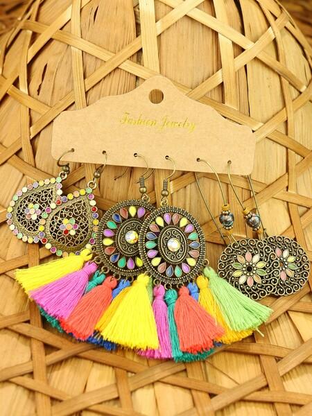 3pairs Bohemian Tassel Drop Earrings
