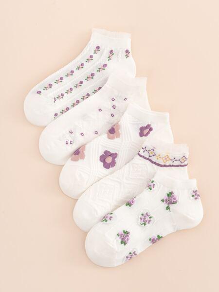 5pairs Floral Print Ankle Socks