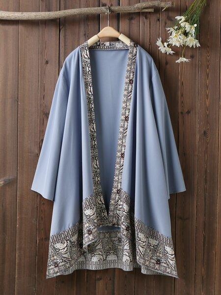Plus Floral Print Open Front Kimono