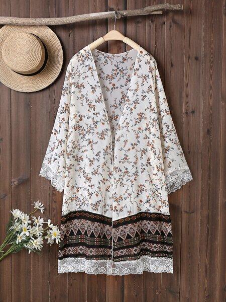 Plus Ditsy Floral Lace Trim Kimono