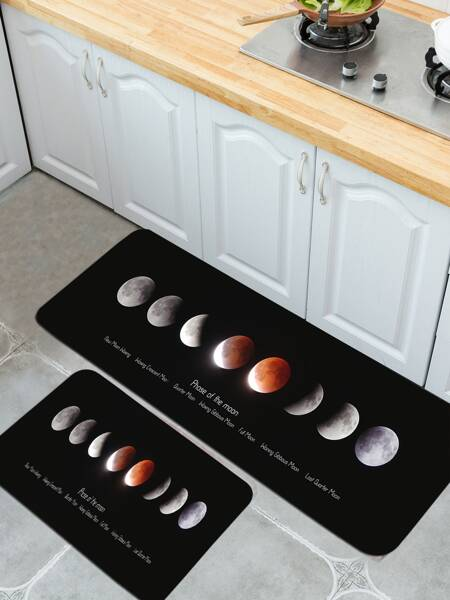 1pc Moon Print Floor Mat