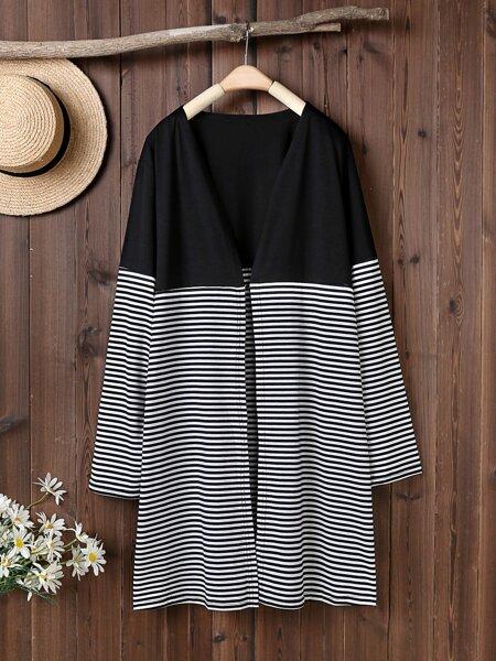 Plus Striped Panel Open Front Kimono
