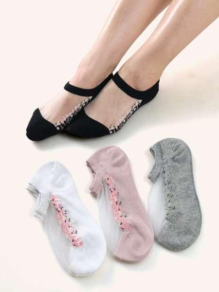 4pairs Flower Detail Socks