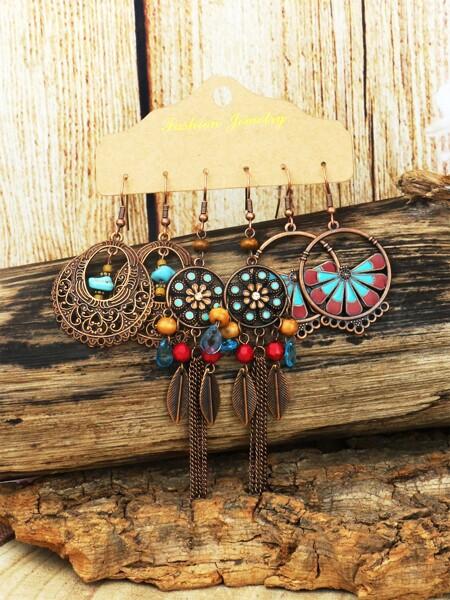 3pairs Vintage Drop Earrings
