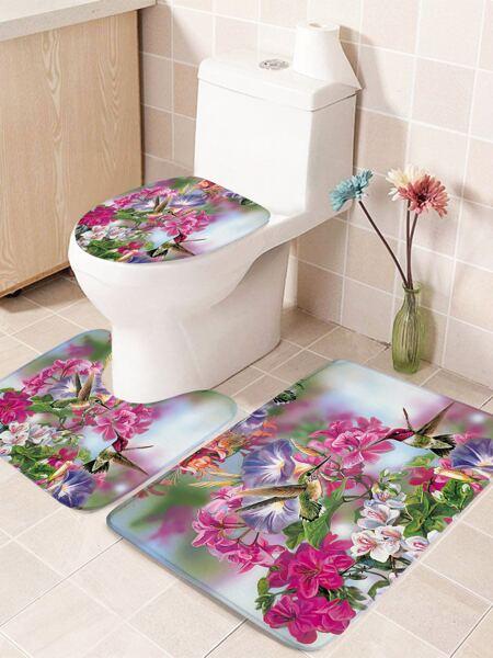 1pc Flower Print Closestool Rug