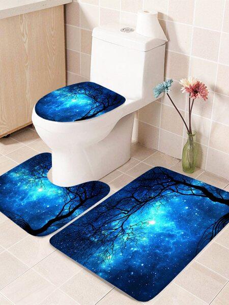 1pc Starry Sky Print Closestool Rug