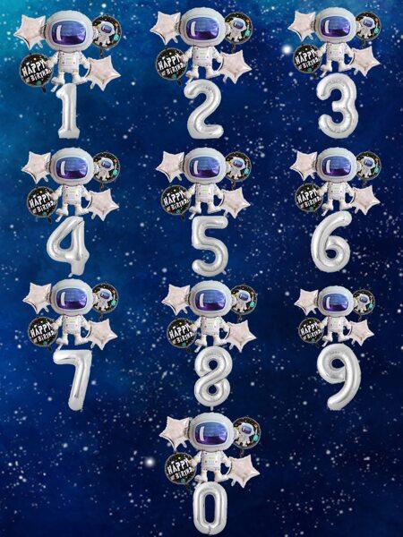 6pcs Astronaut Number Design Balloon