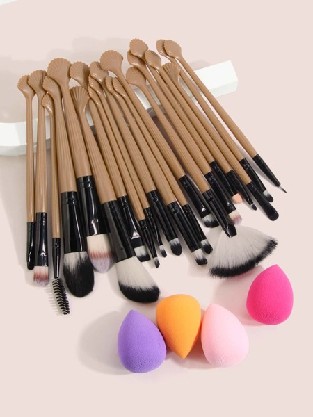 20pcs Makeup Brush & 4pcs Sponge