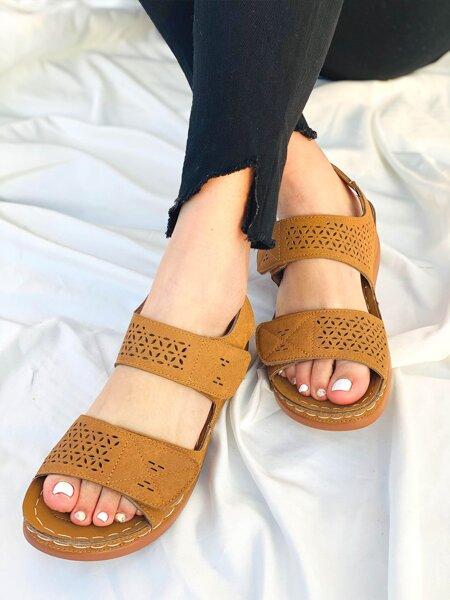 Laser Cut-out Velcro Strap Sandals