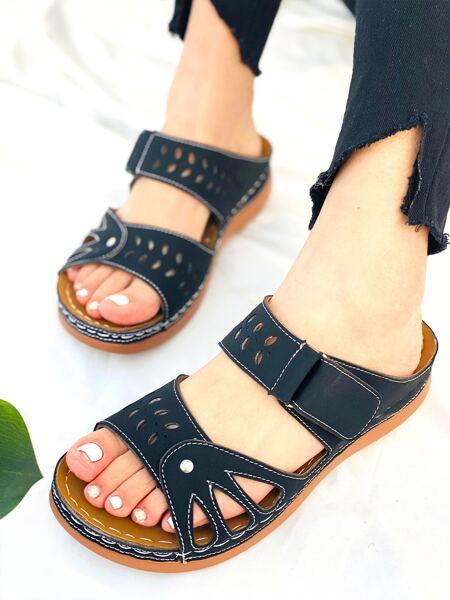 Laser Cut-out Velcro Strap Mule Sandals