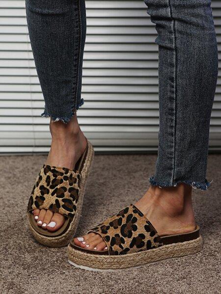 Leopard Espadrille Flatform Mules