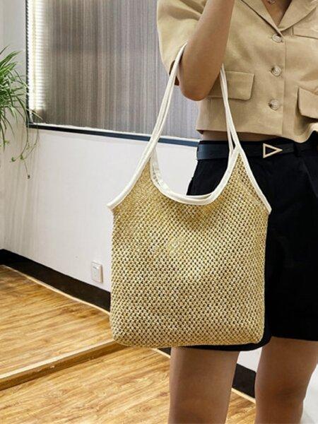 Contrast Binding Straw Bag