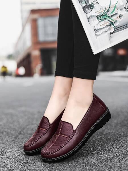 Stitch Trim Slip On Loafers
