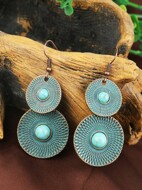 Turquoise Decor Round Drop Earrings