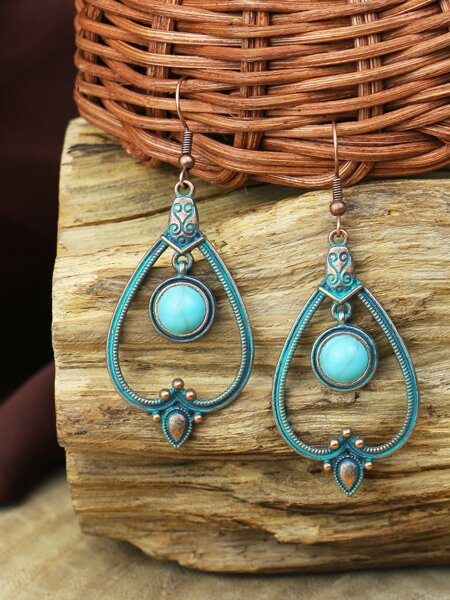 Turquoise Decor Textured Drop Earrings