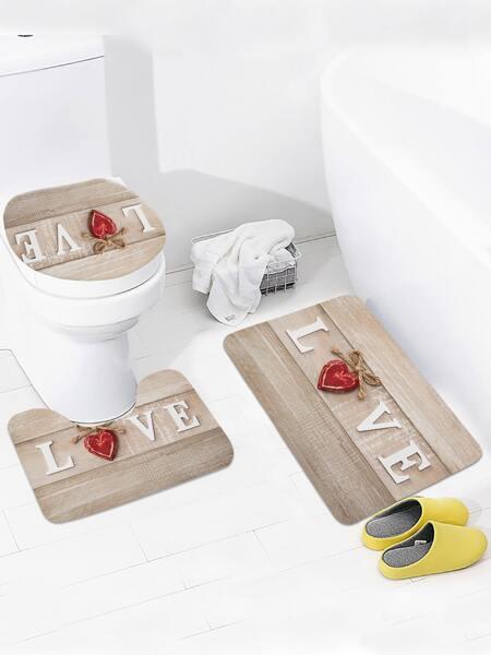 1pc Heart Print Closestool Rug
