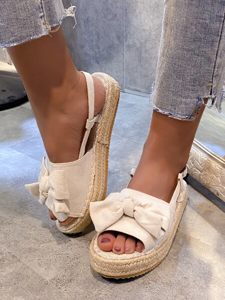 Bow Decor Espadrille Slingback Sandals