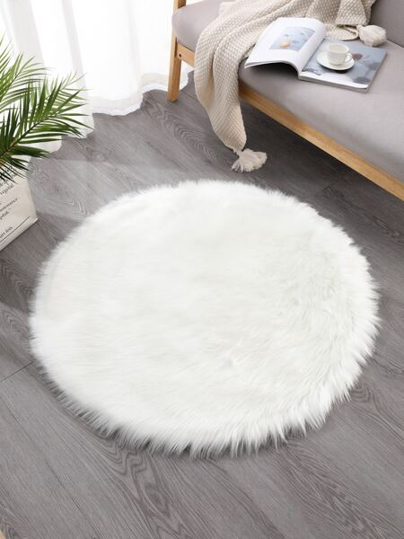 Solid Color Round Plush Rug