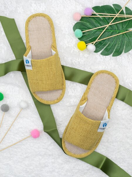 Letter Patch Bedroom Slippers