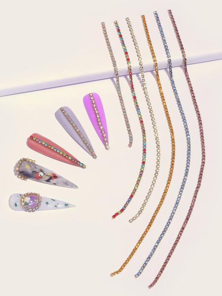 6pcs Colorful Rhinestone Nail Art Decoration