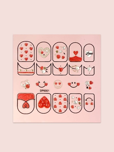 1sheet Heart Pattern Nail Art Sticker
