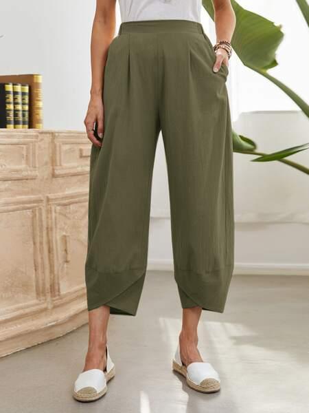 Asymmetrical Hem Pants
