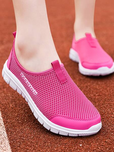 Letter Graphic Mesh Panel Sneakers