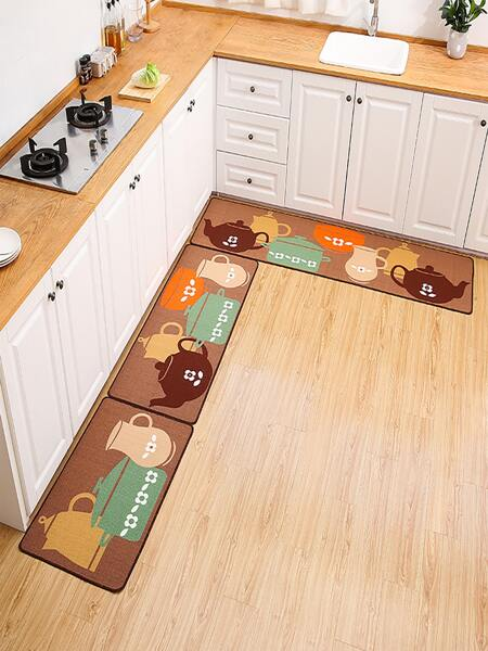 1pc Teapot Print Kitchen Rug