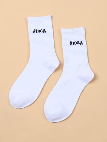 Letter Graphic Crew Socks