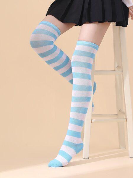 Striped Pattern Over Knee Length Socks