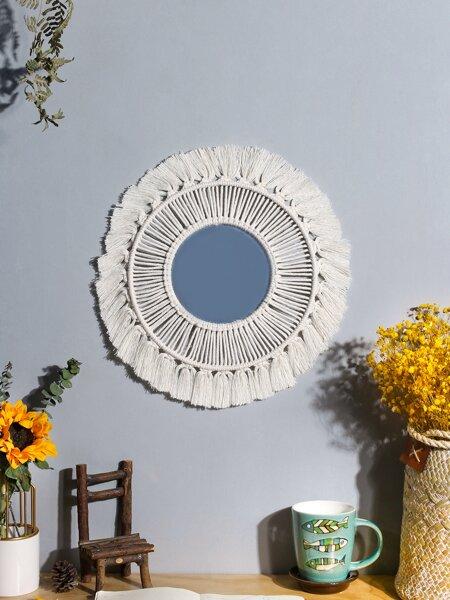 Woven Tassel Rim Wall Hanging Mirror