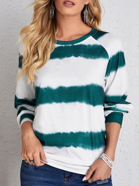 Striped & Colorblock Raglan Sleeve Sweatshirt