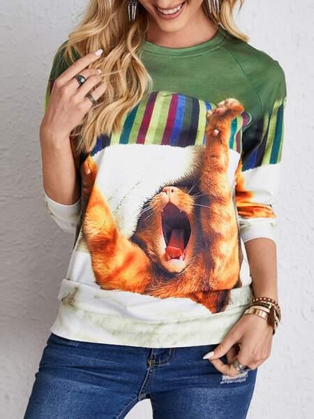 Cat & Striped Raglan Sleeve Sweatshirt