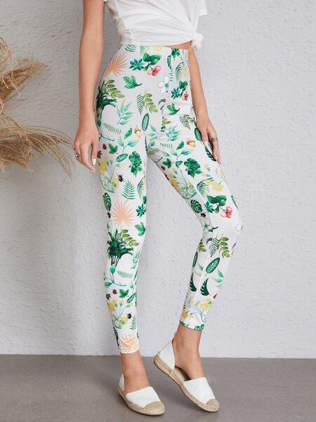 Allover Plants Print Leggings