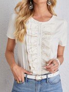Solid Layered Ruffle Trim Button Front Blouse