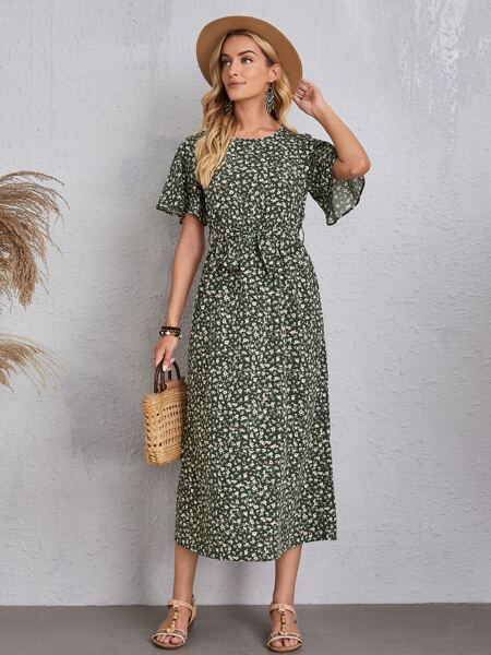 Ditsy Floral Print Butterfly Sleeve Belted Dress