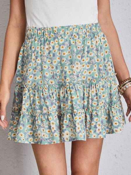 Ditsy Floral Frill Trim Layered Skirt