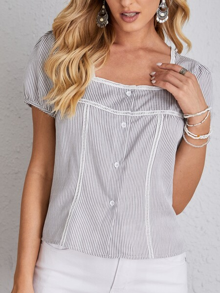 Striped Button Up Square Neck Blouse