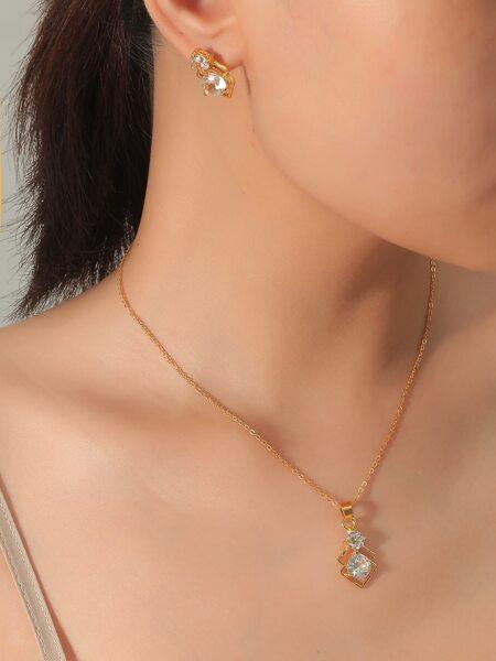 Rhombus Charm Necklace & Earrings