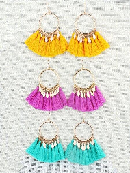3pcs Tassel Design Drop Earrings