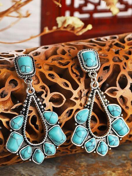 Bohemian Turquoise Decor Waterdrop Drop Earrings