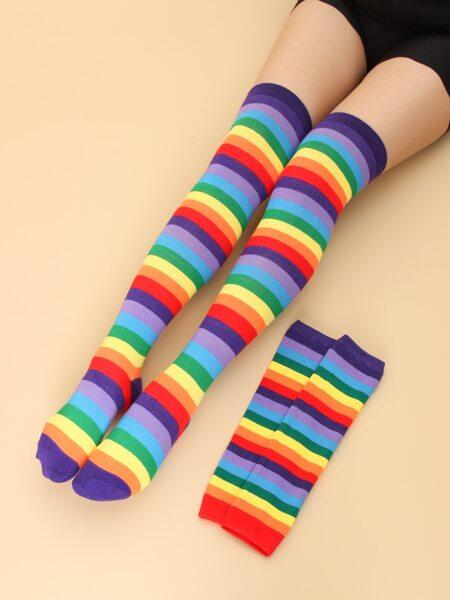 2pairs Rainbow Striped Socks