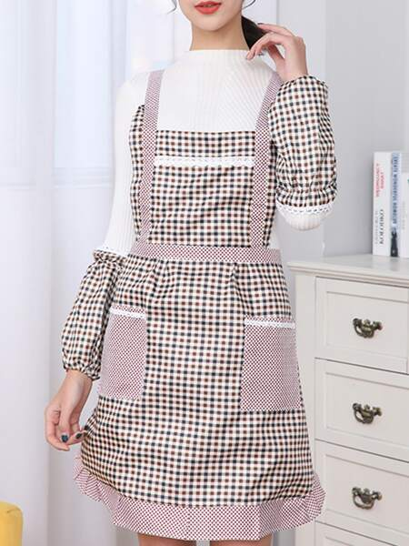 Gingham Pattern Apron Without Sleeve Cover