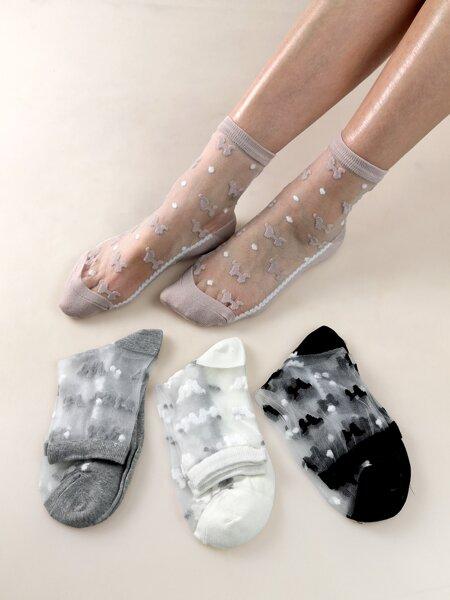 4pairs Mesh Insert Ankle Socks