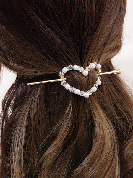 Rhinestone Heart Decor Hair Pin