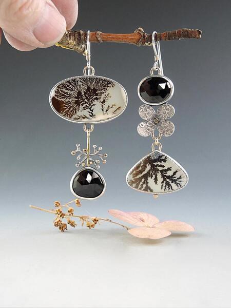 Flower Decor Mismatched Drop Earrings